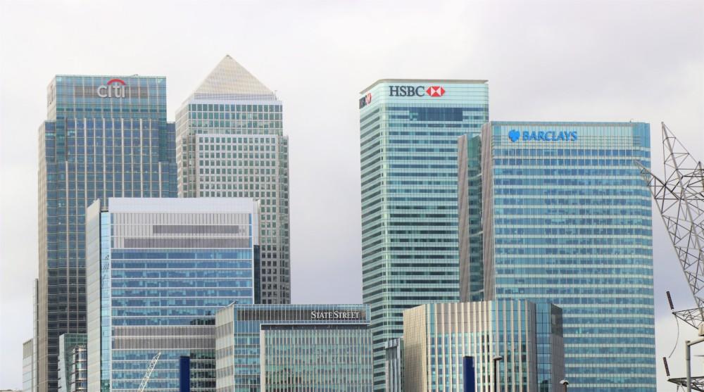 Bank buildings - barclays, HSBC, Citi, State Street. Canary Wharf