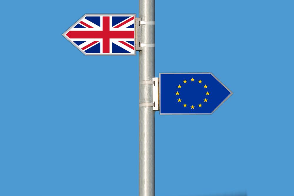 brexit, EU flag and Union Jack